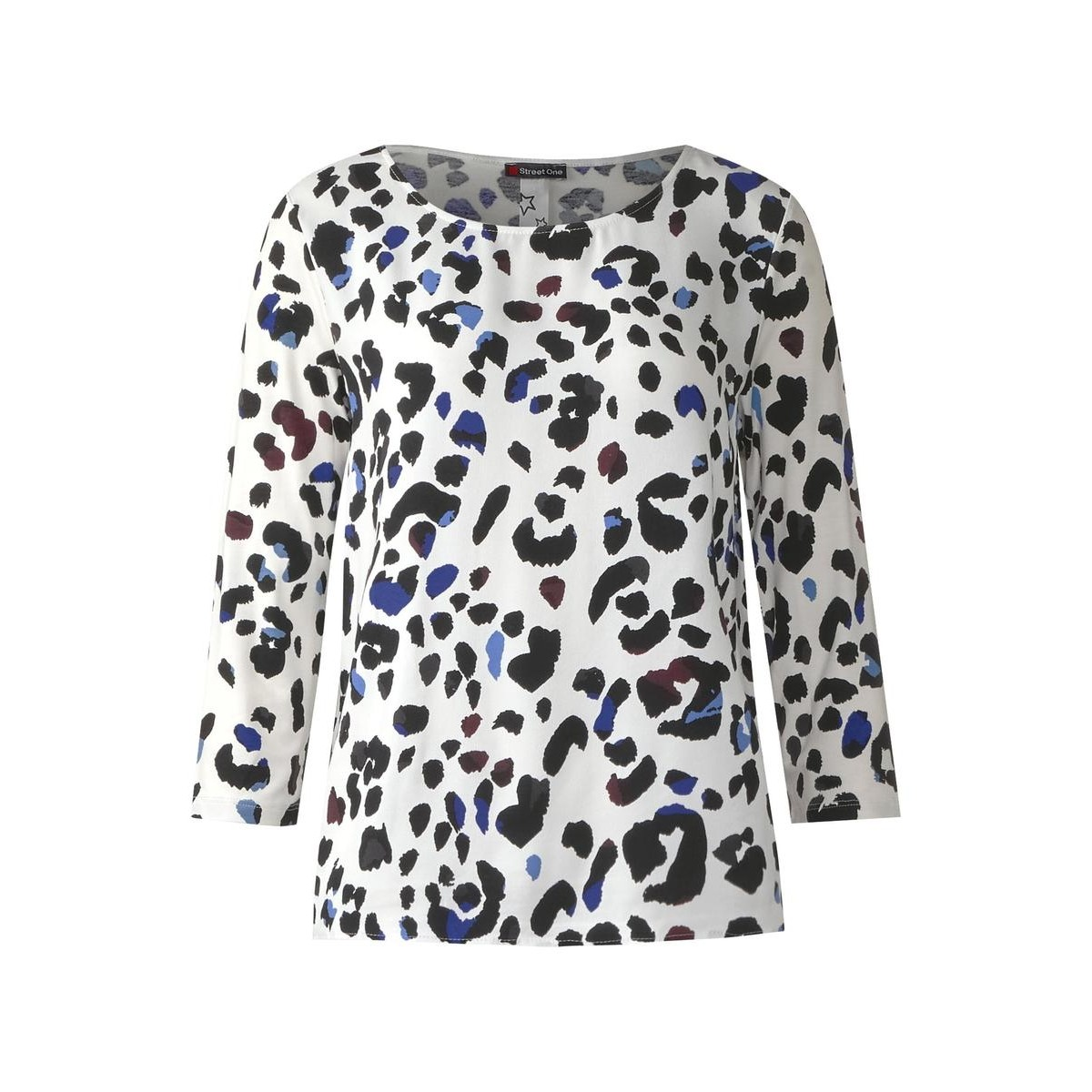 Casual Leo Print Shirt By Street One Blue Black White 34 Pattern