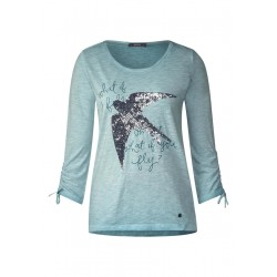 Verziertes Vogelprint Shirt by Cecil