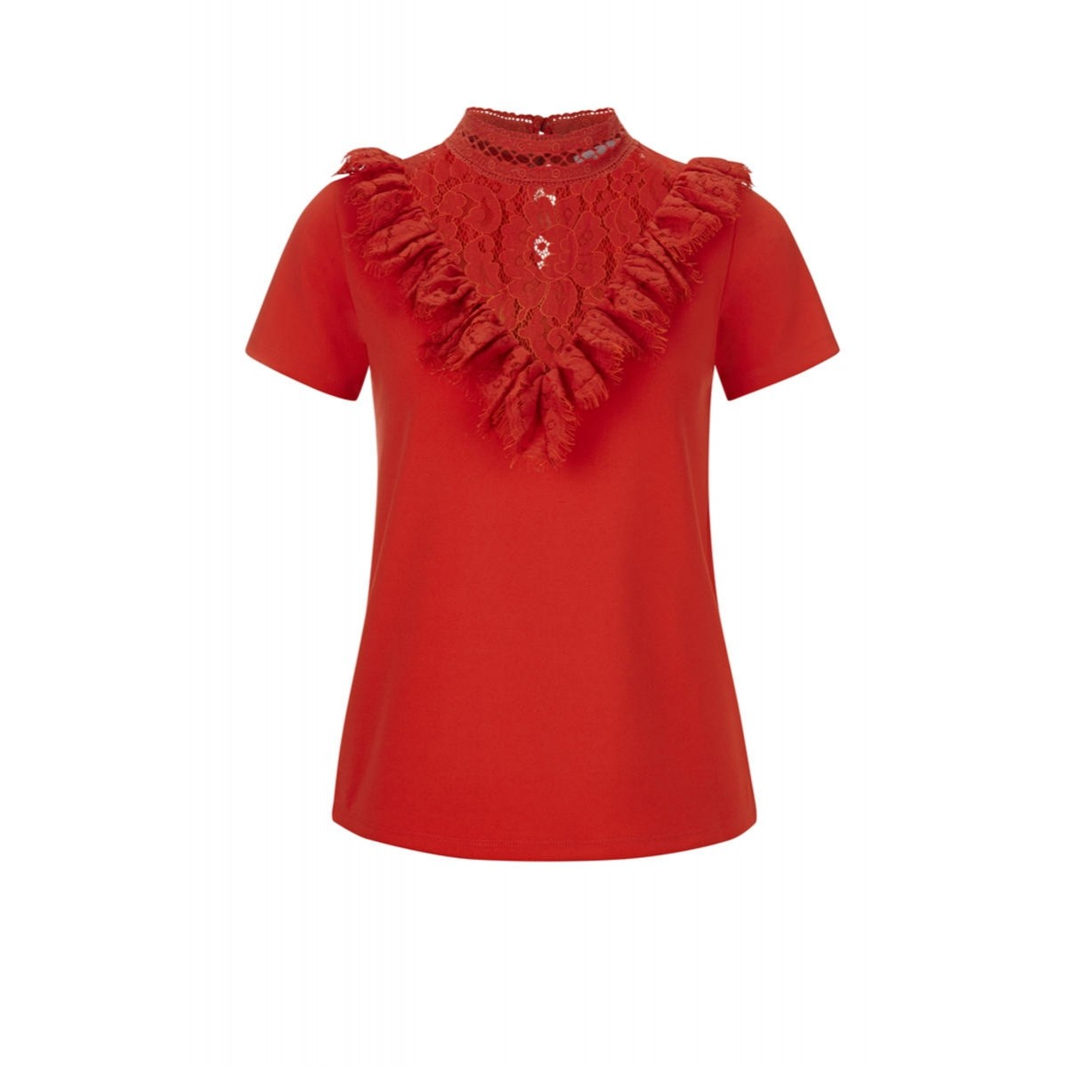 237f175c7a2b T-shirt with decorative lace collar by Rich   Royal - red - 36
