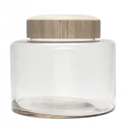 Storage jar with wooden lid (Ø25xh23cm - M) by Hübsch