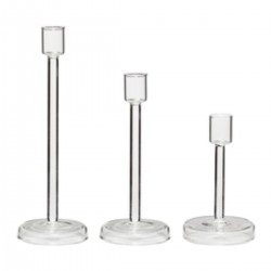 Set of 3 glass candlesticks by Hübsch