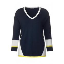 Color Block V-Neck Pullover by Street One