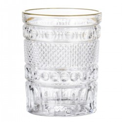 Drinking glass with gilded rim by Bloomingville