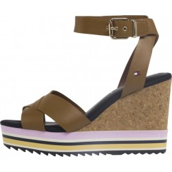 Signature tape wedge sandals by Tommy Hilfiger