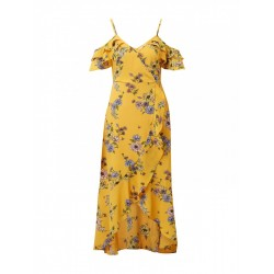 Dress with cold shoulders, a round neckline and elasticated waistband by Tom Tailor Denim