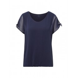 T-Shirt mit Chiffon-Overlay by Tom Tailor