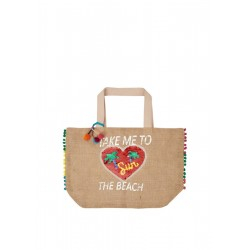 Jute beach bag with appliqués by s.Oliver Red Label