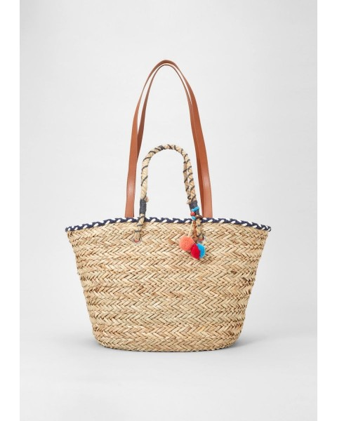 Large straw bag with pompoms by s.Oliver Red Label