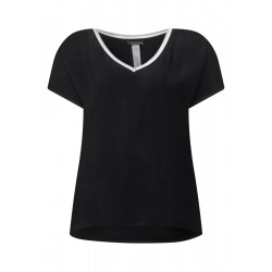 Materialmix Shirt mit V-Neck by Street One
