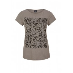 T-shirt with front print in blended linen by s.Oliver Black Label
