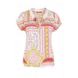 Patterned viscose blouse with lace by s.Oliver Red Label