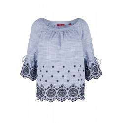 Chambray blouse with broderie anglaise by s.Oliver Red Label