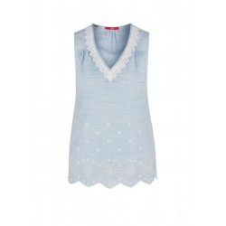 Chambray blouse top with broderie anglaise by s.Oliver Red Label