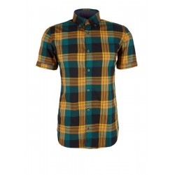 Slim: Short sleeve shirt with colourful checks by s.Oliver Red Label