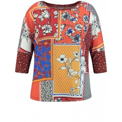 Material mix top with 3/4-length sleeves by Samoon