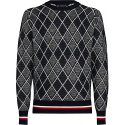 Diamond check crew neck jumper by Tommy Hilfiger