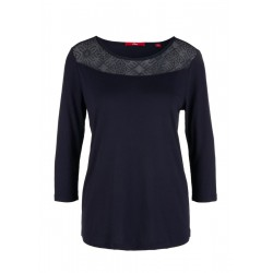 Jerseyshirt mit Mesh-Passe by s.Oliver Red Label
