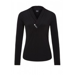 Longsleeve shirt with draping by s.Oliver Black Label