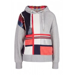 Sweatshirt in a mix of materials with checks by s.Oliver Red Label