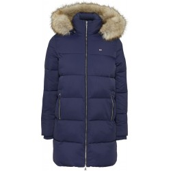 Quilted faux fur hood puffer coat by Tommy Jeans
