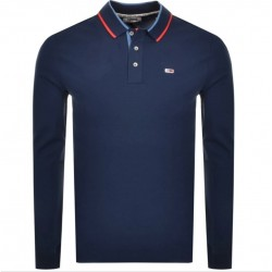 Stretch long sleeve slim fit polo by Tommy Jeans