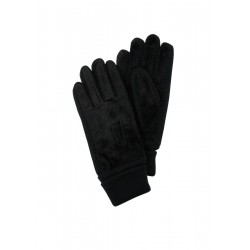 Leather gloves with rib knit details by s.Oliver Red Label