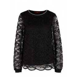 Lace blouse with ribbed cuffs and waistband by s.Oliver Red Label