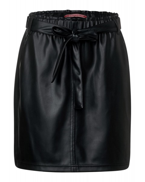 Paperbag skirt in leather look by Street One