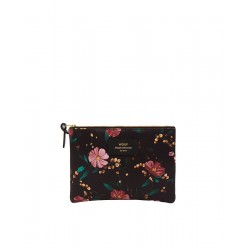 Black Flowers Large Pouch Bag by WOUF