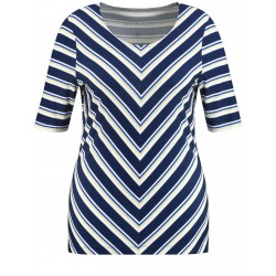 Mid-length sleeve top with stripes by Samoon