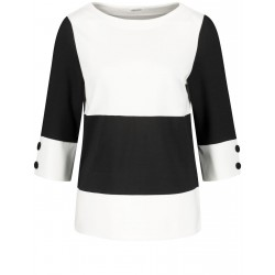 3/4-length sleeve top with a black and white panel by Gerry Weber Collection