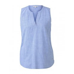 Sleeveless blouse with a Henley Neckline by Tom Tailor Denim