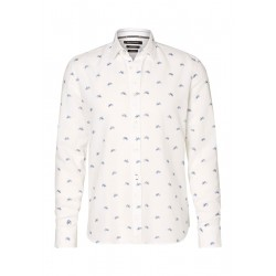Regular long-sleeved shirt In a blend of cotton and linen by Marc O'Polo