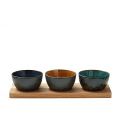 Tray with 3 bowls (32x11x6cm) by Bitz