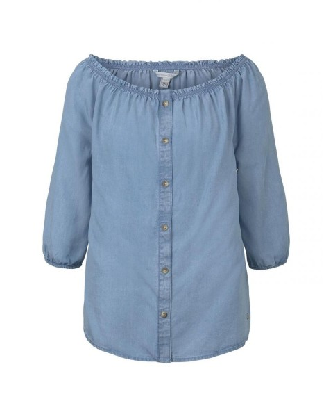 Off-the-Shoulder Carmen blouse with buttons by Tom Tailor Denim