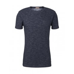 Textured T-shirt in a melange look by Tom Tailor Denim