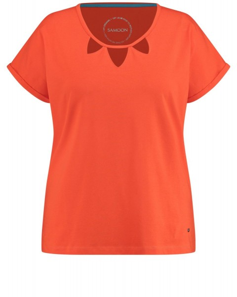 Short sleeve organic cotton top with cut-outs by Samoon