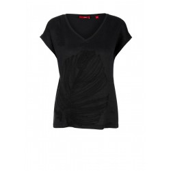 Embroidered top with a linen front by s.Oliver Red Label