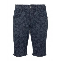 Josh regular denim shorts with a tropical print by Tom Tailor