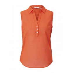 Sleeveless Henley blouse with side slits by Tom Tailor