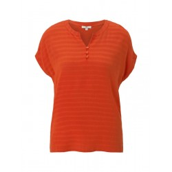 T-shirt with a Henley neckline in a material mix by Tom Tailor