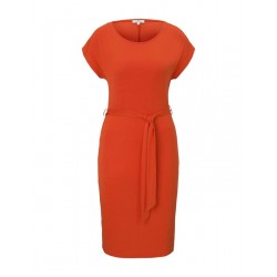 Jersey dress with a tie belt by Tom Tailor