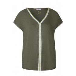 T-shirt with rivet detail by Street One