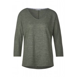 Linen look v-neck shirt by Street One