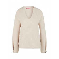 V-neck sweater with decorative button by s.Oliver Red Label
