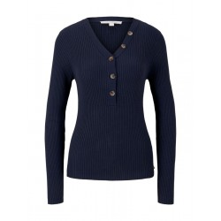 Knit henley with buttons by Tom Tailor Denim