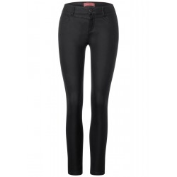 Slim fit trousers with coating by Street One