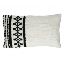Rectangular black and white cotton pillow by Pomax