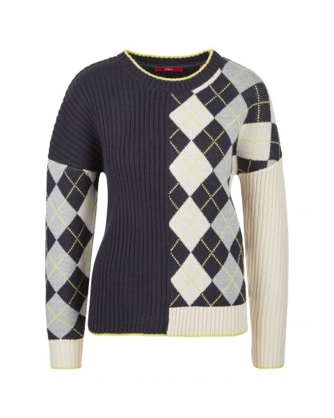 Wool mix sweater with argyle pattern by s.Oliver Red Label
