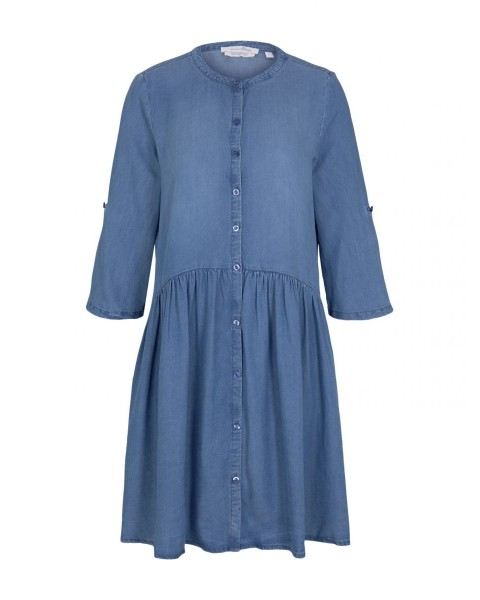 Buttoned denim dress with ruffles by Tom Tailor Denim